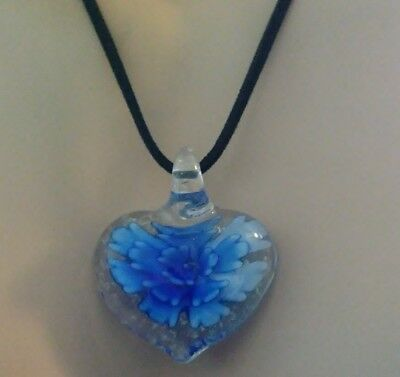 CLEAR HEART BLUE FLOWER GLASS PENDANT BLACK SUEDE FEEL NECKLACE MOTHERS DAY 💝