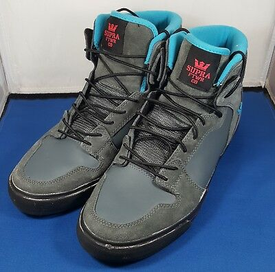Supra Mens Gray Blue Textile High Top Lace Up Sneakers Shoes Sz 10