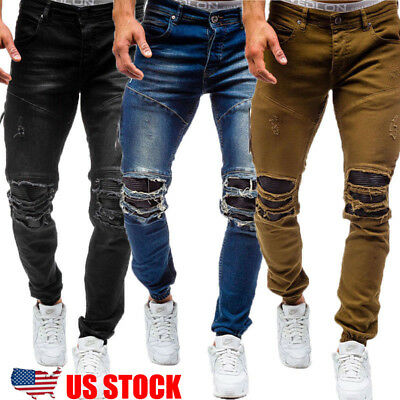 Mens Stretchy Ripped Skinny Biker Jeans Destroyed Taped Slim Fit Denim Pants RR