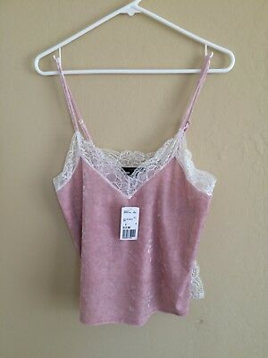 Forever 21 lace velvet cami pink top
