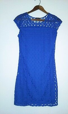 NEW Kate Middleton Style Lace Dress Royal Blue-S-crew neck Bodycon Short Summer