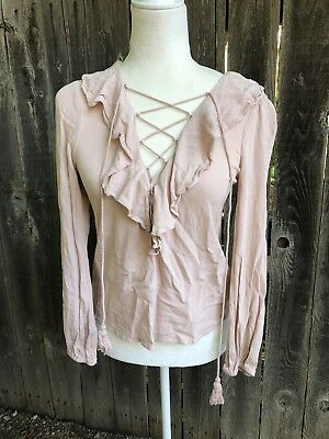 FOREVER 21 laceup Blouse Ruffle Detail Small