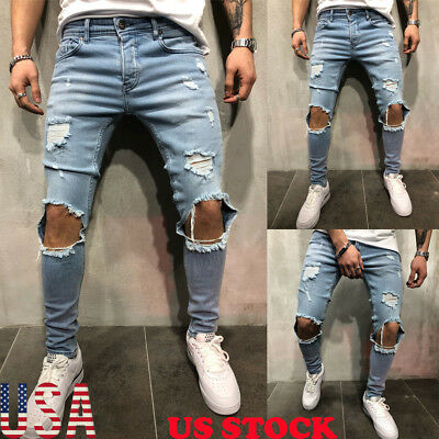 Mens Stretchy Ripped Skinny Biker Jeans Destroyed Tapered Slim Fit Denim Pants