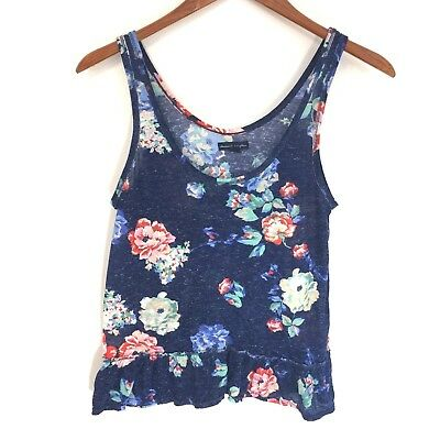 American Eagle Outfitters Heather Blue Floral Tank Top Ruffle Hem Womens Medium