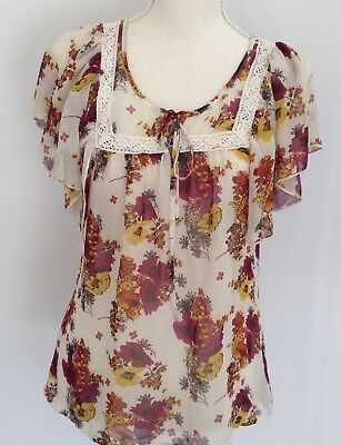 Wet Seal womens blouse floral short sleeve size small 165