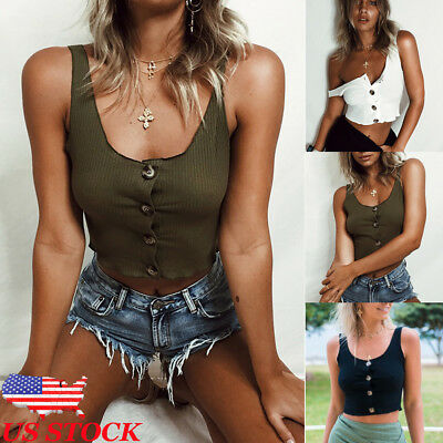 US Sexy Women Summer Button Vest Crop Tops Shirt Blouse Casual Tank T-Shirt