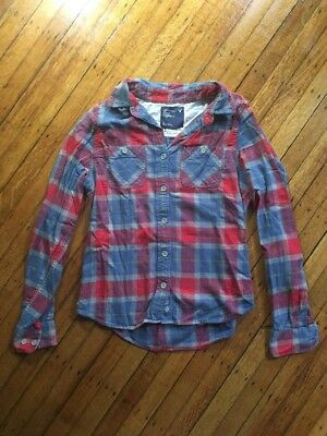 American Eagle Outfitters Button Up Shirt Flannel Plaid Red Navy Gray 6