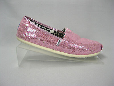 Toms Pink Sparkle Glitter Slip On Ballet Flats Shoes Womens Size 12