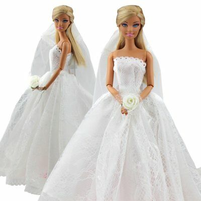 US Beautiful Bridal Wedding Gown Embroidery Dress w Veil for Barbie Doll White