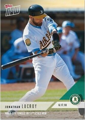2018 Topps NOW MLB 334 Jonathan Lucroy Walk-Off Single in 11th Seals Win