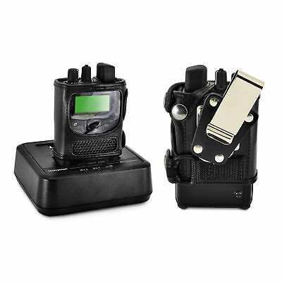 Unication G1 Voice Pager Fire 2 Way Radio Black Leather Case Metal Belt Clip