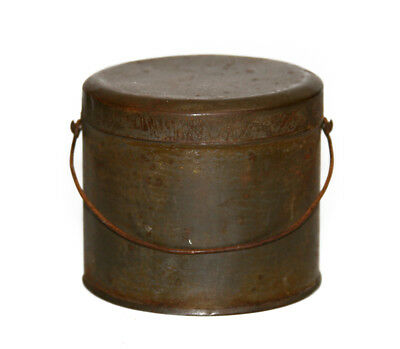 Antique Primitive Metal Berry Bucket Lunch Pail With Lid - Wire Bail Handle
