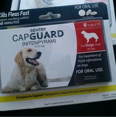 REAL SENTRY Capguard Oral Flea Treatment Medication Dog 25 lb - 6 ct nitenpyram