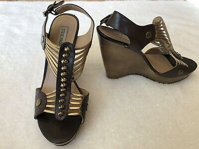 STEVE MADDEN Tuscan Womens GoldBrown Strappy Ankle T Strap Wedge Sandals Sz 9