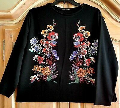 ZARA Rubberised Floral Pattern Long Sleeve Top Black Size L NWOT