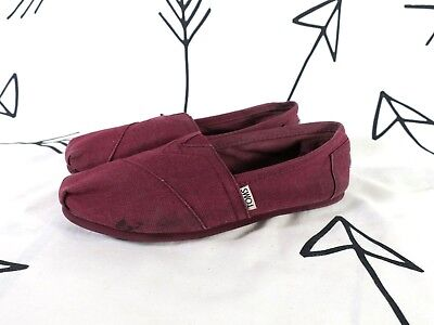 Womens TOMS CLASSICS SLIP ON SHOES Burgundy Red Size 8 Canvas Toms Flats