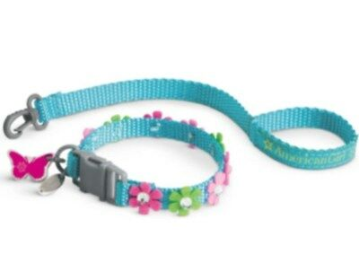 American Girl Blossoms Collar and - Leash Set Pet Dog Puppy Cat Kitten blue NEW