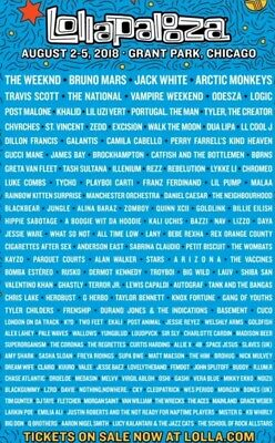 LOLLAPALOOZA 2018 4 Day Pass GA Wristbands  Tickets  Chicago TWO AVAILABLE