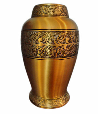 NEW ADULT BRASS CREMATION URN LARGE FUNERAL URN FOR HUMAN ASHES