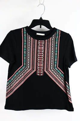 Zara Trafaluc Black Combo Mosaic Print Short Sleeve Casual Top M