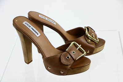 Steve Madden Crunk Brown Leather Open Toe Buckle Accent Platform Sandal 6M
