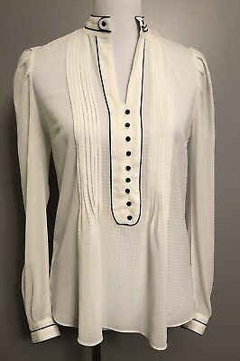 Zara Basic Womens Size Small Off White Embellished Sheer Career Blouse Top