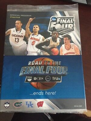 2014 Final Four March Madness Program UCONN Florida Kentucky Wisconsin Sealed