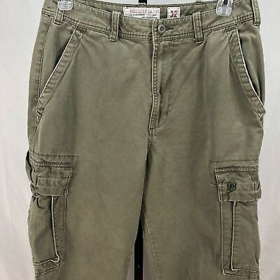 Hollister Co mens pants size 32 Cargo multi pocket green distressed