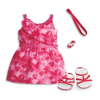 American Girl Truly Me Red Hearts Ruffle Dress And Sandals Headband Outfit