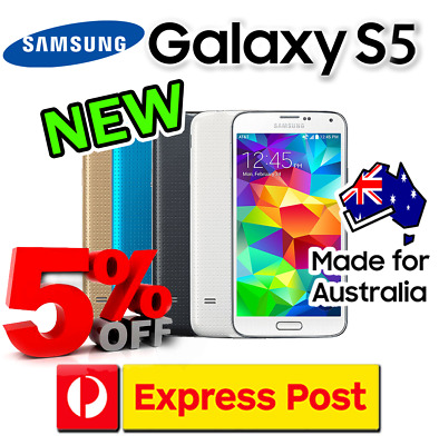 NEW SAMSUNG GALAXY S5 AU STOCK SM-G900 4G LTE UNLOCKED WARRNTY FROM SYDNEY