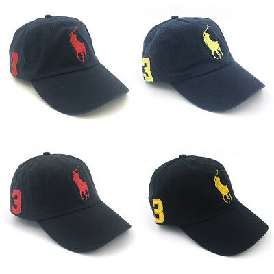 Polo Baseball Cap With Fine Embroidery 3 Big Pony Logo Adjustable Mens Hat  New