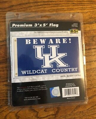 University of Kentucky 3x5 logo flag March Madness beware Wildcat County
