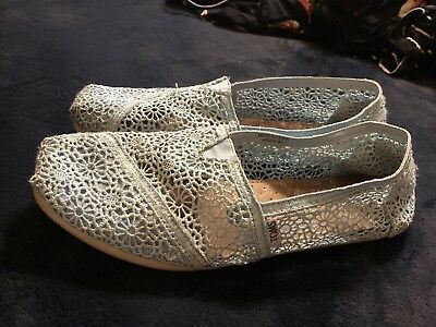 Toms Authentic Baby Blue Morocco Lace Crochet Toms Shoes Size 11
