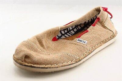 Toms Loafers Brown Textile Women Shoes Size 6-5 Medium B M