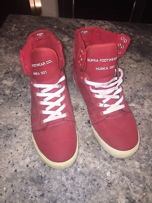 Supra Skytop Mens Red High Top Lace Up Sneakers Shoes Mens 10-5