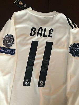 Gareth Bale Real Madrid Home White Jersey Long Sleeve UCL Size M NWT