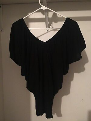 WET SEAL Black Flowy Short Sleeve Top Womens Size Small