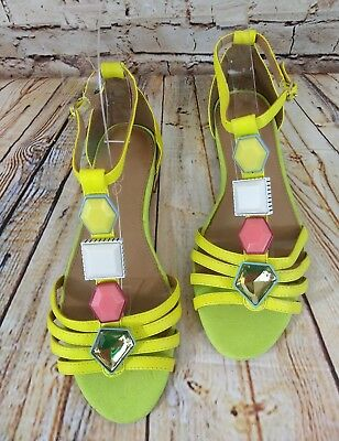 Aldo women's US 7-5 flat sandals ankle strap yellow multi color jewels strappy