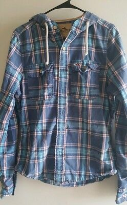 Hollister Co Hooded Plaid Button Down Shirt Mens Size M Light Blue