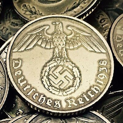 Rare World War 2 Germany 5 RP Reichspfennig Aluminum Bronze Coin