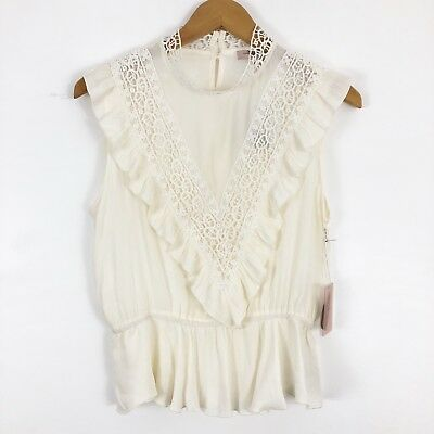 Forever 21 Womens Large Ivory Woven Ruffle Top Mock Neck Cap Sleeve Lace Blouse
