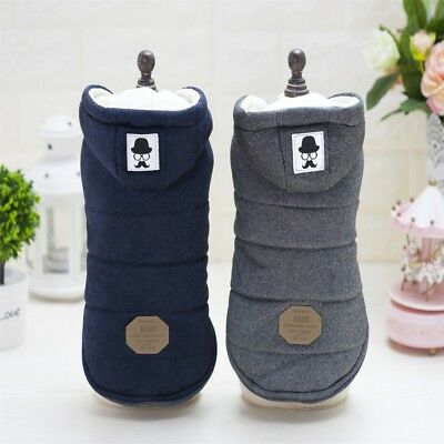 US Pet Dog Cotton Winter Warm Padded Hooded Coat Puppy Jacket Sweater Apparel