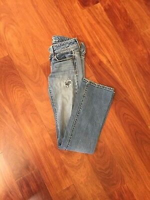 American Eagle Outfitters Medium Wash Distressed Slim Boot Jeans Pants 0 Regular