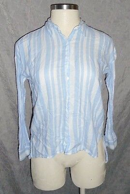 FOREVER 21 Contemporary Blue White Striped Hi Lo LS Button Front Top S 4 6