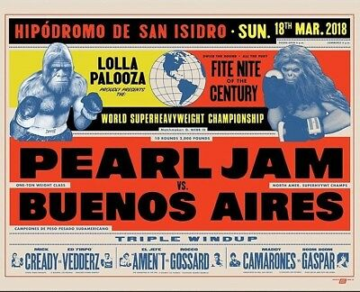 Pearl Jam Lollapalooza Buenos Aires Argentina 2018 Concert Poster Ames Bros