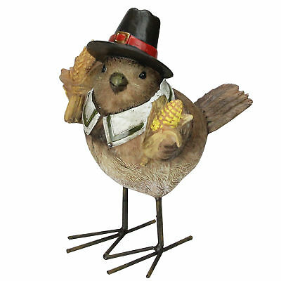 6-5 Autumn Harvest Thanksgiving Boy  Pilgrim Bird Figurine