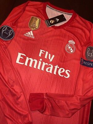 Gareth Bale 11 Real Madrid LONG SLEEVE Red UCL Jersey NWT