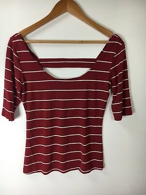 Wet-Seal Womans Red White Striped Open Back Top Size Large
