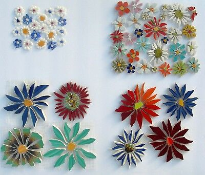 Small - Large Colorful FlowersVariations Broken China Mosaic Tiles