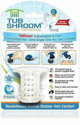 TubShroom Hair Catcher Strainer Drain Protector for Tub 100 Authentic White